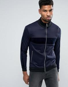 Трикотажная спортивная куртка со вставками из велюра ASOS - Темно-синий