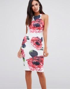 Облегающее платье миди с цветочным принтом AX Paris - Кремовый