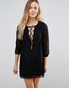 Платье со шнуровкой спереди Little White Lies Fion - Черный