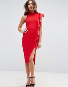 Облегающее платье миди с высокой горловиной и оборкой сбоку ASOS - Красный