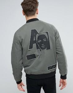 Куртка-пилот цвета хаки с нашивками ASOS - Зеленый