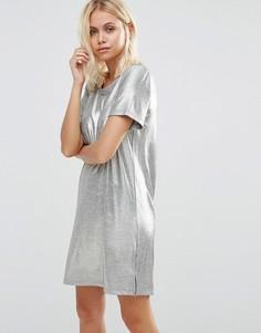 Платье-футболка с эффектом металлик Vila - Серебряный
