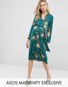 Платье-рубашка с цветочным принтом и контрастным кантом ASOS Maternity - Мульти