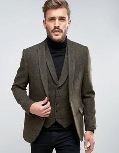 Твидовый узкий пиджак в елочку ASOS - Зеленый