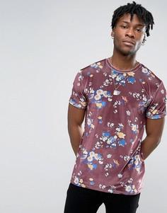 Бархатная футболка премиум-класса с цветочным принтом ASOS - Красный