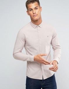 Розовая приталенная оксфордская рубашка с логотипом ASOS - Розовый
