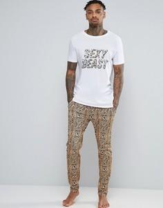 Пижамные штаны с леопардовым принтом ASOS - Коричневый