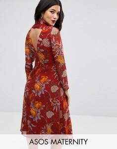 Платье миди для беременных с открытой спиной и цветочным принтом ASOS Maternity - Красный