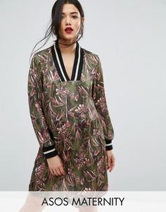 Атласное цельнокройное платье для беременных с цветочным принтом ASOS Maternity - Мульти