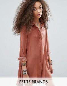 Свободное атласное платье-рубашка Glamorous Petite - Оранжевый