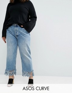 Прямые джинсы с бахромой ASOS CURVE Authentic - Синий