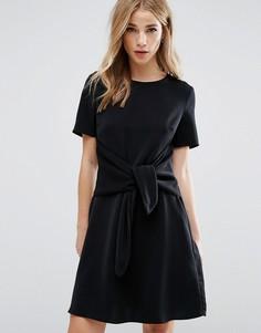 Цельнокройное платье с завязкой спереди New Look - Черный
