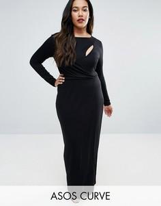 Платье макси с длинными рукавами и открытой спиной ASOS CURVE - Черный