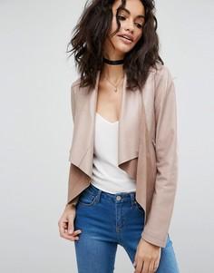 Кожаная куртка с каскадной драпировкой ASOS - Розовый