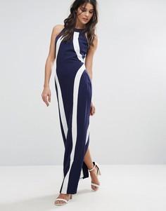 Платье макси с отделкой Paper Dolls - Синий