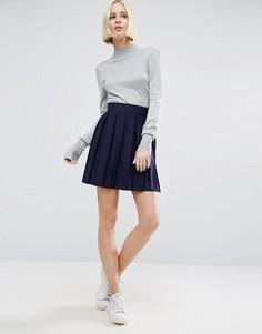 Короткая расклешенная юбка из плиссированного трикотажа ASOS - Темно-синий