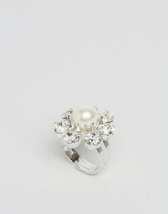 Кольцо с кристаллами Swarovski и жемчугом Krystal - Прозрачный