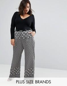 Широкие брюки с принтом Elvi Plus - Черный