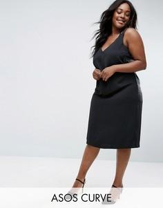 Атласное платье с глубоким вырезом и узелком ASOS CURVE - Черный