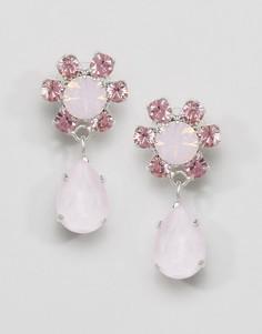 Серьги-подвески в виде цветков Swarovski Krystal - Розовый