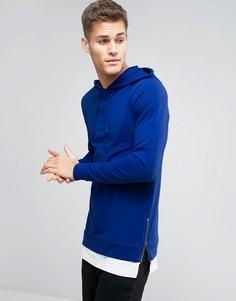 Обтягивающее худи с молниями по бокам и футболка ASOS - Синий