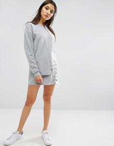 Трикотажная юбка со шнуровкой ASOS - Серый