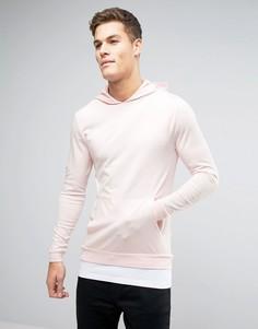 Розовое обтягивающее худи со вставкой на нижней кромке ASOS - Розовый