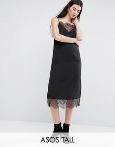Платье-комбинация миди с кружевной вставкой ASOS TALL - Черный