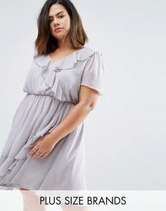 Короткое приталенное платье с оборками Koko Plus - Серый