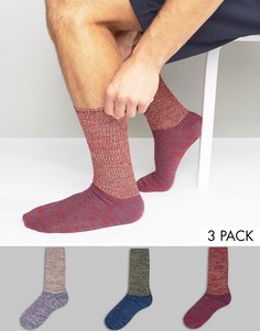 3 пары толстых носков в рубчик с узором косичка ASOS - Мульти