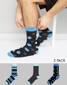 3 пары носков в горошек и полоску ASOS - Мульти