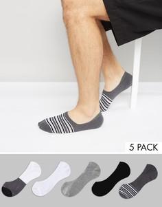 5 пар низких полосатых носков ASOS - Мульти