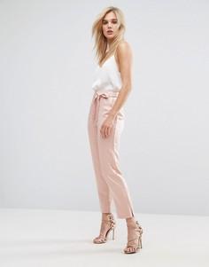 Атласные брюки-галифе с разрезами у кромки и поясом ASOS - Розовый