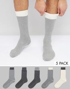5 пар носков из вафельного трикотажа с контрастными манжетами в рубчик ASOS - Мульти