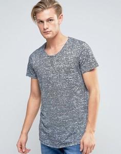 Длинная футболка в полоску с закругленным низом Jack & Jones - Темно-синий