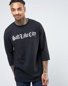 Oversize-футболка с рукавами 3/4 и надписью спереди ASOS - Черный