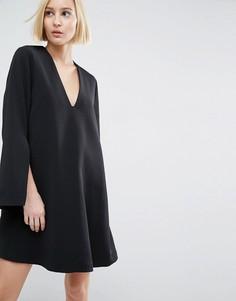 Платье мини с V-образным вырезом ASOS WHITE - Черный