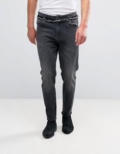 Черные выбеленные джинсы с необработанными поясом и кромками ASOS - Черный