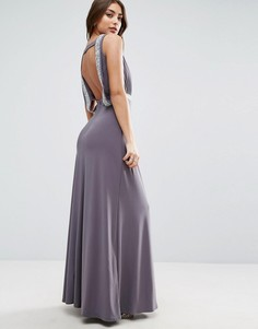 Платье макси с блестками и драпировкой на спине ASOS - Серый
