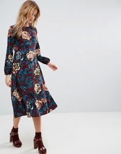 Платье миди с крупным цветочным принтом ASOS - Мульти