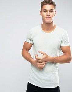 Длинная футболка в полоску с закругленным низом Jack & Jones - Зеленый