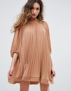 Плиссированное свободное платье Missguided - Коричневый