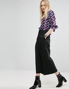 Широкие строгие брюки укороченного кроя ASOS - Черный