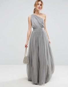 Платье макси на одно плечо из тюля ASOS PREMIUM - Серый