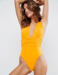 Слитный купальник с присборенной талией ASOS - Желтый