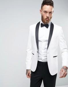 Белый узкий пиджак-смокинг с контрастными лацканами ASOS - Белый