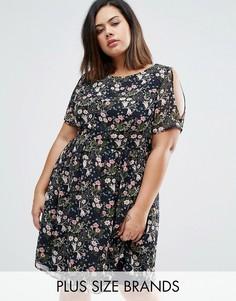 Короткое приталенное платье с открытыми плечами и цветочным принтом Koko Plus - Темно-синий
