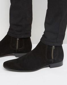 Замшевые ботинки челси с контрастной эластичной вставкой и молнией ASOS - Черный