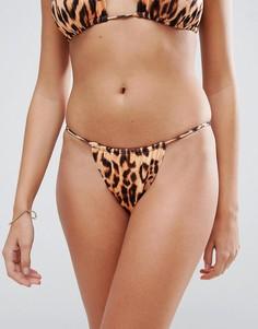 Плавки бикини с леопардовым принтом и высоким вырезом Hot As Hell - Мульти