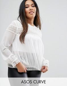 Плиссированная блузка с кружевными вставками ASOS CURVE - Кремовый